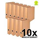 Original Falken 10er Pack Vegan-Ordner Pure Nature. Hergestellt in Deutschland. 5 cm breit DIN A4 Braun Aktenordner Briefordner Büroordner Pappordner Schlitzordner