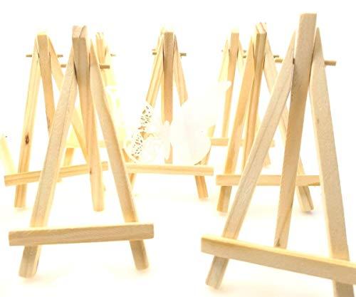 JZK® 10 x Mini kleine Holz Tafel Display Staffelei Foto Memo Halter Platzkartenhalter Name Tabelle Karte Stand für Hochzeit Geburtstag Taufe Babyparty Party & Bar (10 x, 15 x 8 cm)