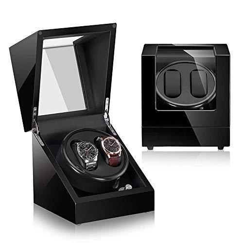 FFAN Devanadera de Reloj Unisex de Madera automática, Caja de presentación 2 + 0 almacenamientos-Almohada de Cuero/Pintura de Piano/Vidrio Templado/Motor japonés