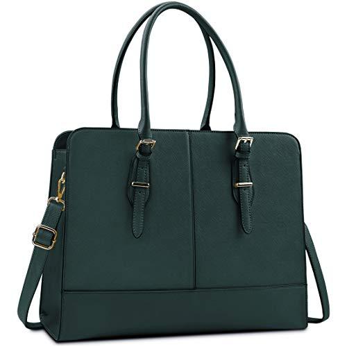Lubardy Laptop Bags for Women 15.6 inch Ladies Leather Laptop Handbag Work Handbags Womens Tote Bag Office Green