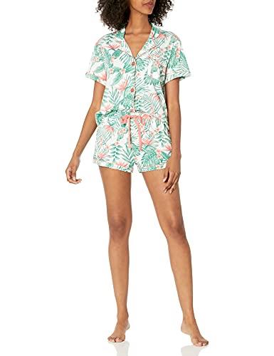 PJ Salvage Women's Loungewear Playful Prints Pajama Pj Set, Coral, L