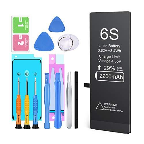 Batteria per iPhone 6S, Ponoser Alta Capacità Batteria Interna di Ricambio in Li-ion, Strumenti di Riparazione Completi con Kit Sostituzione, Cacciavite Strumenti e Adesivo