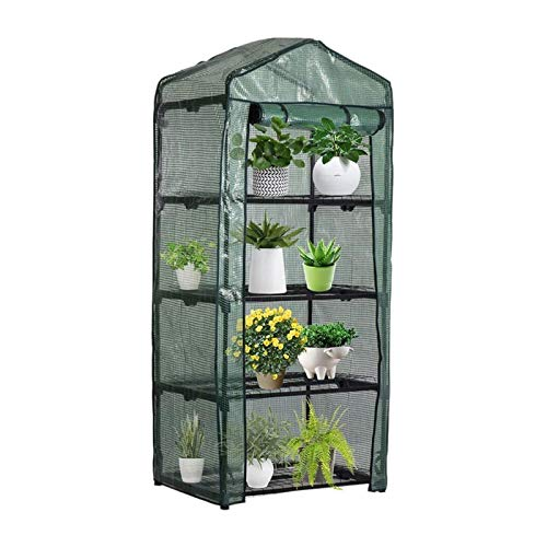 ASY 4 Tiers Mini Greenhouse Cover Frame Green Cover Portable Walk-in Replacement Plastic Small Vegetable Garden Frame Growhouse Plant Grow Shed For Seedlings Herbs Flowers160 X 70 X 50cm