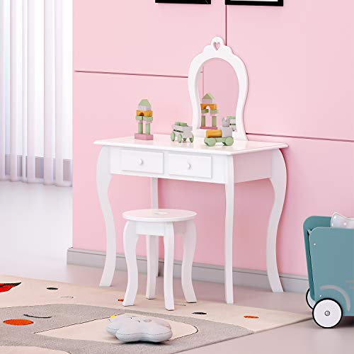 N/S Birtech Girls Dressing Table and Stool Childrens Vanity Table Set Kids Wooden Princess Dressing Table with Mirror and Drawer white