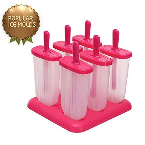 Hay 6 moldes con 6 tapas, puede crear diferentes sabores deliciosos al mismo tiempo. También es ideal para la fiesta y picnic. Con este congelador molde de la fábrica de hielo del pop, se puede hacer una deliciosa primavera y el verano trata a sí mis...