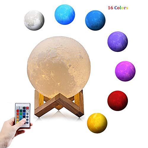 Lampe Lune 3D, Queta Lampe de Lune 15cm 16 Couleurs Lampe de Chevet Lune Télécommande Tactile USB Rechargeable avec Support en Bois pour Chambre Décoation