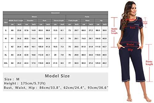 Doaraha Pijamas Capri para Mujer Algodón Suave Ropa de Dormir Manga Corta Pantalones Capri Verano Corto Conjunto de Pijama 2 Piezas (Negro, XXL)