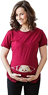 Spoof Child Opening Pattern Large Size Short Sleeve, Printed Round Neck Pregnant Women T-Shirt