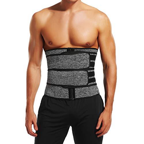 KIWI RATA Men Sauna Workout Waist Trainer, Neoprene Wide Trimmer Belt with Double Belly Belts