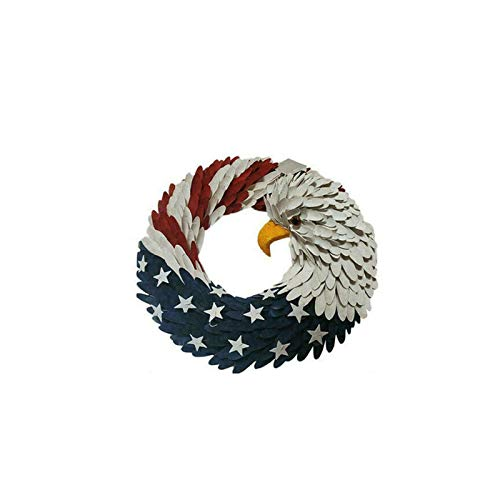FRIUSATE American Eagle Wreath for Door - Patriotic Flag Garland,4th of July Decor(7.5 inch)
