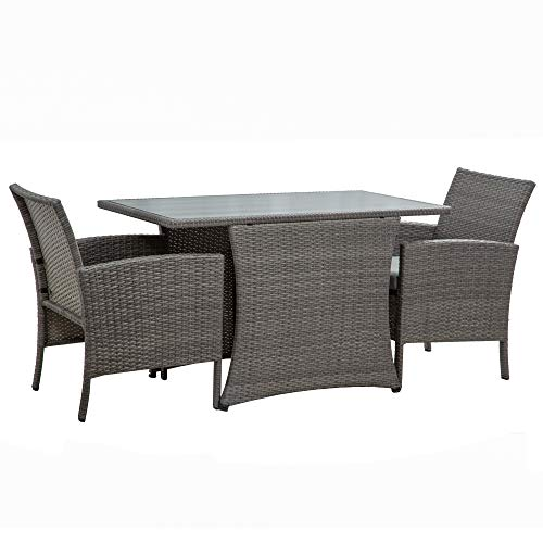 BELLEZE Miramar 3 Pieces Patio Furniture Dining Set All-Weather Wicker Dining Table and Cushioned Chair, Gray