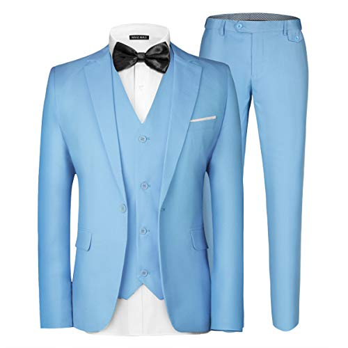 MAGE MALE Men's 3 Pieces Suit Elegant Solid One Button Slim Fit Single Breasted Party Blazer Vest Pants Set Light Blue