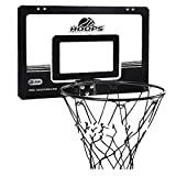 LXLA Indoor Mini Basketball Hoop Over The Door, Wall Mounted Basketball Hoop Set with 2 Rubber Balls and Air Pump, Basketball Toy for Kids & Adults (Color : Black)