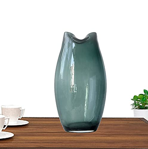 LXLAMP Floreros Cristal, jarrones Decorativos de Suelo Altos jarrones Cristal Sencilla Moderna de Vidrio Transparente jarrón de Flores(Verde Oscuro)