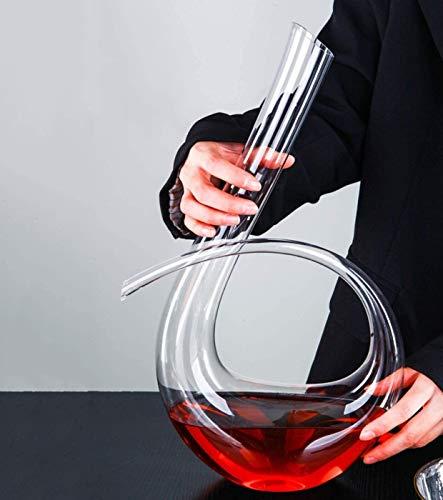 Red Wine Cuentas Limpieza del botellón, 1240 ml, Vino Tinto 6 con Forma rápida Decanter soplado a Mano Estilo Italiano sin Plomo Cristal Vidrio Transparente, for Boda, Aniversario,