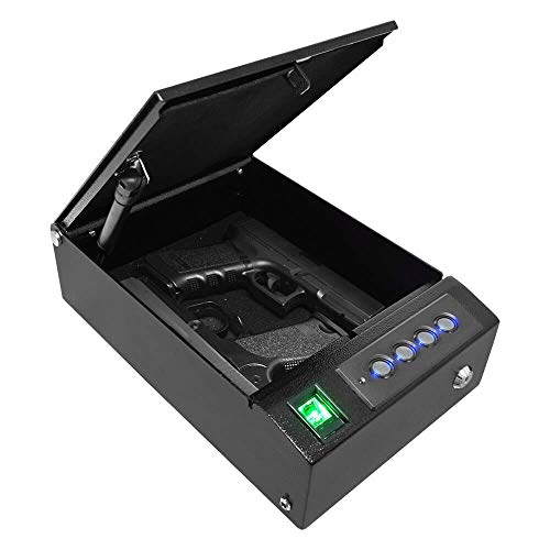 Stealth SwiftVault 2.0 Quick Access Biometric Pistol Safe Auto-Open Lid Fingerprint Handgun Safe CA DOJ Approved