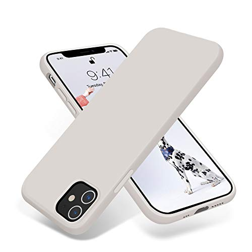 OTOFLY Compatible with iPhone 12 Case and iPhone 12 Pro Case 61 inch2020Silky and Soft Touch Series Premium Soft Liquid Silicone Rubber FullBody Protective Bumper Case Stone