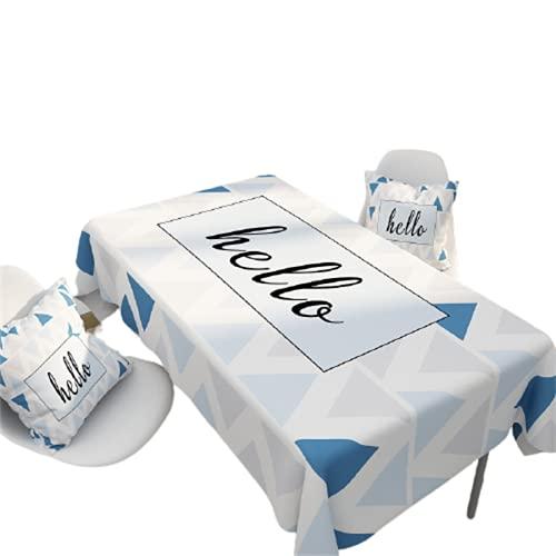 Patrón De Letras Geométricas Poliéster A Rayas Mantel Impermeable Hogar Hotel Decoración De La Sala De Estar Mantel De Cocina Antiincrustante Fiesta De Navidad Interior Y Exterior 140x140cm