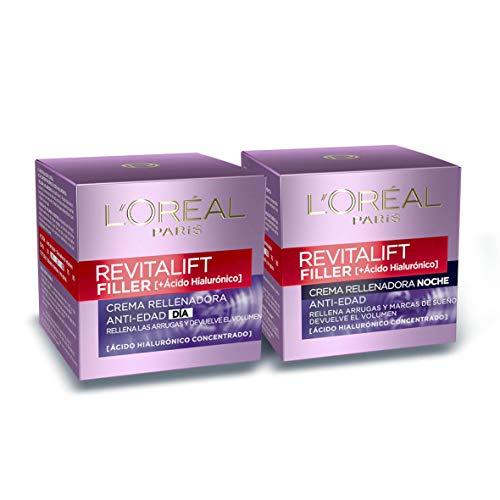 L\'Oréal Paris, Set de Crema de Día + Crema de Noche, con Ácido Hialurónico Revitalift Filler, Set de Cremas Faciales Rellenadoras y Antiarrugas, 50 ml Cada Una