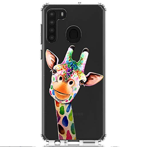 HUIYCUU Compatible with Galaxy A21 Case 6.5', Shockproof Anti-Slip Cute Rose Animal Print Clear Design Pattern Funny Slim Crystal Soft Bumper Girl Women Cover Case for Samsung Galaxy A21, Giraffe