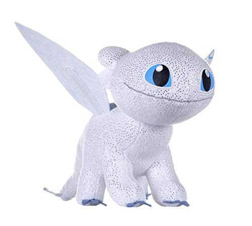 Unbekannt Drachenzähmen 12434 How to Train Your 3 Light Fury Soft Toy with Features-32cm Dragons Plüsch mit Glow in The Dark Effekt, bunt, 0