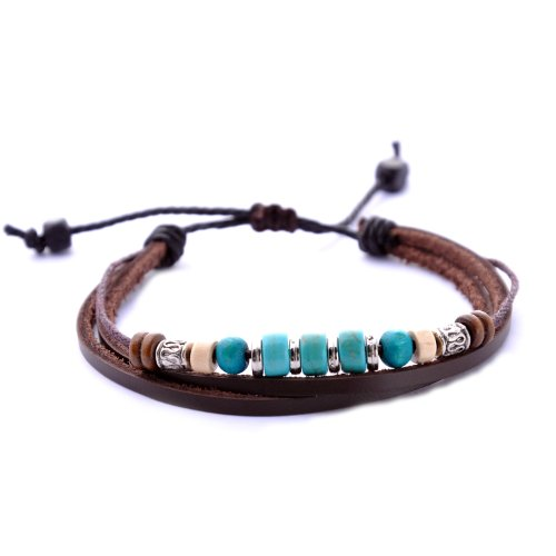 Morella women's bracelet in leather in a variety of styles // various models available - Turquoise - One size