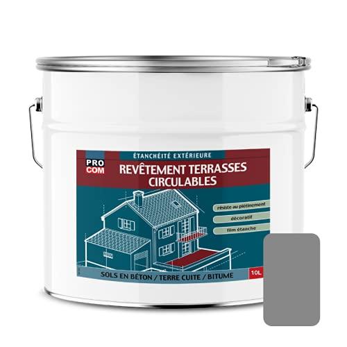 Peinture détanchéité, imperméabilisante pour terrasse circulable, balcons, sols extérieurs, bétons, terres cuites 10 litres Gris