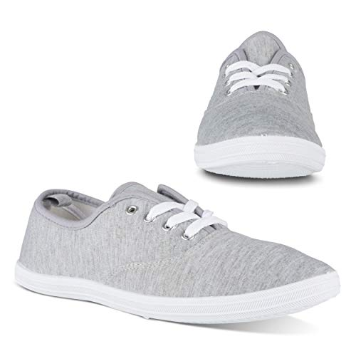 Twisted Tennis Shoes for Women | Low Rise Lace Up Sneakers, Casual Classic Plimsoll Style, Heather Grey, 8