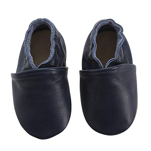 First Walker Leather Baby Shoes with Soft Soles Toddler Moccasins (4.5 M US Toddler, Navy)