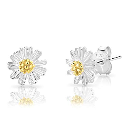 DTPsilver SMALL 925 Sterling Silver Studs Earrings - Daisy Flower with a Yellow Gold Plated Centre - Diameter: 8 mm
