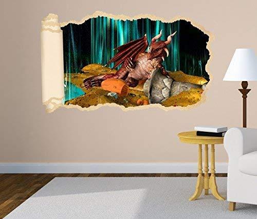 3D Wandtattoo Drache Dragon Schatz Kinderzimmer Tapete Wand Aufkleber Wanddurchbruch Deko Wandbild Wandsticker 11N1293, Wandbild Größe F:ca. 97cmx57cm