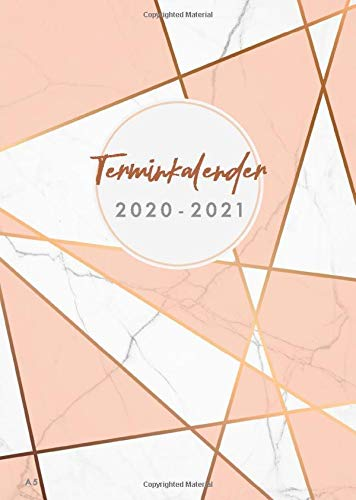 Terminkalender 2020 2021 A5: Wochenkalender 20/21, 18 Monate, 2020/2021, von Juli 2020 bis Dezember 201, A5, stilvolles Marmor Design mit Streifen, Taschenkalender (Bürobedarf 2020-2021, Band 1)