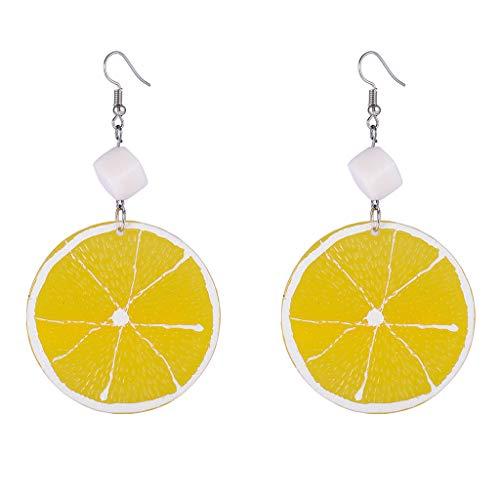 Bciou Summer Resin Fresh Lemon Orange Slice Pendientes de gota para mujer acrílico joyería de frutas