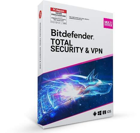 Bitdefender Total Security & unlimitiertes VPN 2021- 10 Geräte | 1 Jahr Abonnement | PC/Mac | Aktivierungscode per Post