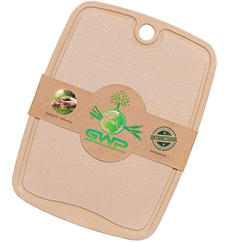 Green World Production I 100% Biologisches Schneidebrett mit Saftrille I Schneidbrett Antibakteriell ohne Plastik BPA Frei Vegan I Brotschneidebretter Spülmaschinenfest mit rutschfesten Füßen. (31x23)