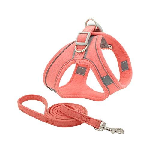 Double-sweet Arnés de perro personalizado con correa reflectante transpirable ajustable arnés para mascotas para perros pequeños y grandes - Rosa-XL