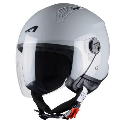 Astone Helmets - MINIJET monocolor- Casque jet - Casque jet urbain - Casque moto et scooter compact - Coque en polycarbonate - Light Grey Gloss M