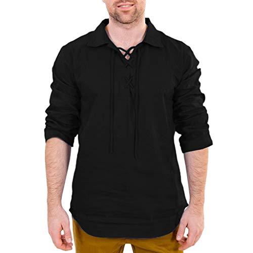 FRAUIT Magliette Coreana Manica Lunga Estive T Shirt in Lino Camicie Uomo Maniche Lunghe Eleganti Camicia Uomini Eleganti Slim Fit Tops Retro