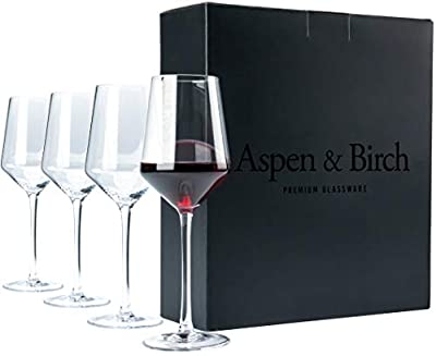 Aspen & Birch - Classic Wine Glasses Set of 4 - Red Wine Glasses or White Wine Glasses, Premium Crystal Stemware, Long Stem Wine Glasses Set, Clear, 15 oz, Hand Blown Glass Crafted by Artisans