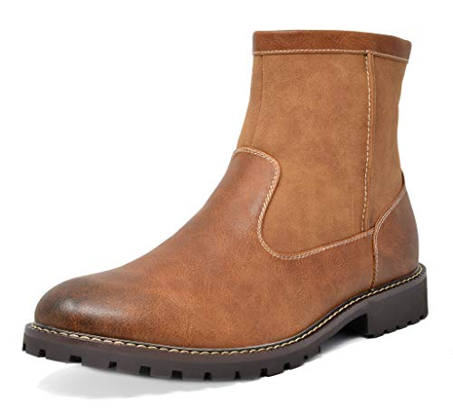 Bruno Marc Men's Brown Chelsea Dress Boots Faux Fur Lining Ankle Boots Size 10 M US Stone-02