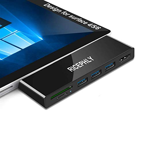 Surface Docking Station, Surface Pro 4/5/6 USB Hub Docking Station with 4K HDMI, 3 x USB 3.0 Ports, SD/Micro SD Card Reader,LAN Adapter for Surface Pro 5 Aluminum