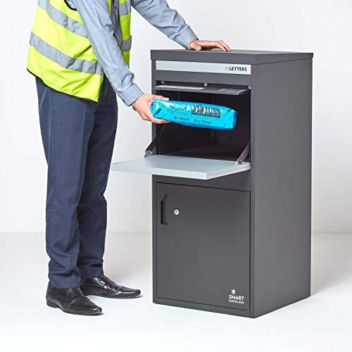 Extra große Smart Parcel Box, Paketbriefkasten für alle Zustelldienste mit Paketfach und Briefkasten, sichere Paketbox mit Rückholsperre, Entnahme hinten & vorne, 485 x 455 x 1025 mm, anthrazit