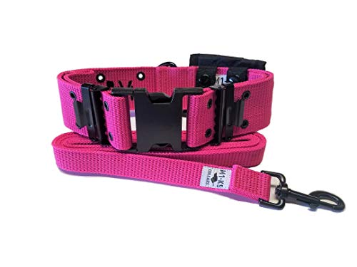 M1-K9 Big Military Dog Collar (Gen. 3, Adj. 16'-26', Hot Pink)