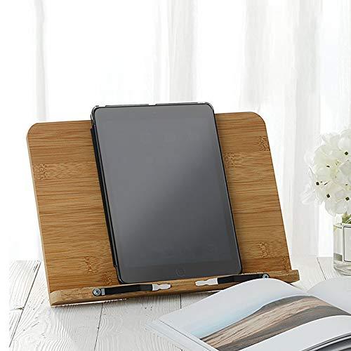 Buchständer, Rezeptbuchständer, Buchhalter aus Bambus zum Lesen, Ausstellen, Küche mit 2 Metall-Seitenhaltern für Kochbücher, Rezepte, iPad, Tablets (39 x 28 cm)