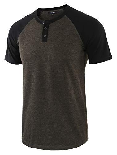Estepoba Men's Casual Vintage Short Raglan Sleeve Baseball Henley Jersey Shirts H.Charcoal/Black XXL