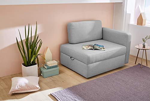 lifestyle4living Sessel in hellgrauem Feinstrukturstoff, Funktionssessel inkl. Gästebettfunktion und Bettkasten, Vielfälltig einsetzbar und EIN gemütlicher Schlafplatz