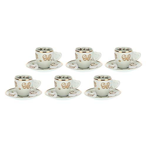 THUN - Set 6 Tazzine da caffè con Decorazioni Natalizie - Natale - Accessori Cucina - Linea Gold Icons - Porcellana, Oro 24 K - 70 ml