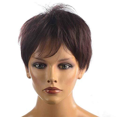 pruiken Knappe unisex neutraal bruin rode pruik onzichtbare naadloze natuurlijke heren haarset