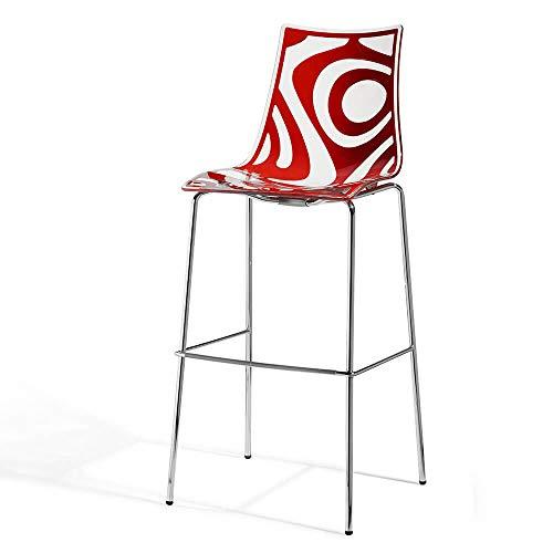 Scab Set 2 Design Wave Tabouret h. 80 cm Rouge-Transparent