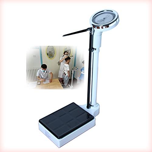 Yeanee Báscula médica, báscula mecánica, báscula de Altura y Peso, dial analógico, tallímetro (70-190cm), medición de Altura y Peso, Capacidad 120kg / 160kg.
